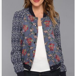 NWOT Free People Floral Bomber Jacket